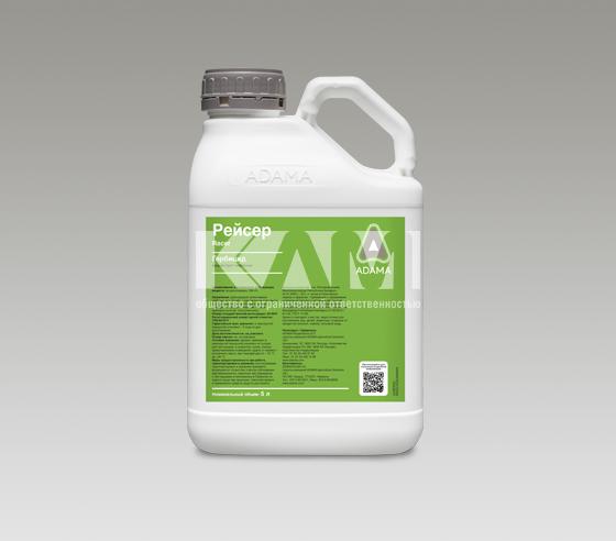 РЕЙСЕР, КЭ - гербицид, используемый для довсходовой обработки. Он контролирует широкий спектр широколистных и злаковых сорняков в посевах зерновых, бобово - злаковых смесей, картофеля, подсолнечника, моркови.